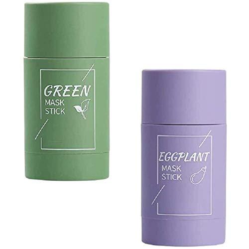 HFDHD Green Mask Stick - Maschera all'argilla purificante al tè Verde melanzane, Viso idrata Il Controllo dell'olio, pori puliti in profondità, migliora la Pelle per Le Donne Uomini C