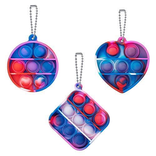 HaiZhiTong Mini Tie-dye Pop Bubble Sensory Toys, Push Pop Fidget Llavero Juguetes Alivio de Estrés y Anti-Ansiedad Herramientas para Niños Adultos (C2)