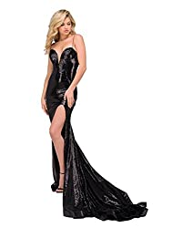 Black Strap Long Sequin Dress with Train and Slit