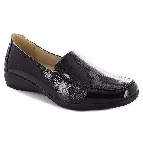 Dr Keller para mujer Wide Fitting zapatos plano, ligero de tipo Mocasín cuña de bajo ajuste comodidad Smart Casual Formal Trabajo de oficina con forro de piel ligera para hombre más amplio ajuste Slip On Shoe tamaño 3-8, color Negro, talla 40