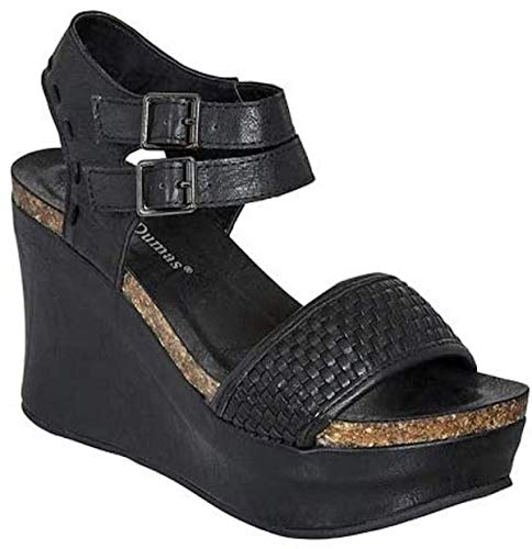 Pierre Dumas Hester-12 Womens Vegan Leather Double-Buckle Rounded-Toe Wedge Sandals (Black, 8.5)