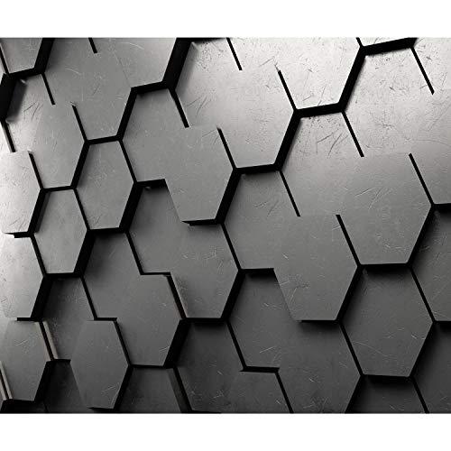 decomonkey Fototapete 3d Effekt 350x256 cm XXL Design Tapete Fototapeten Vlies Tapeten Vliestapete Wandtapete moderne Wand Schlafzimmer Wohnzimmer Stein Geometrisch schwarz