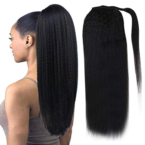 Fshine Wrap Ponytail Extensions Real Hair 22 Inch Hair Extensions Kinky Straight Clip Ponytail for Women with Comb Natural Black One Piece Hair Extensions 100 Gram