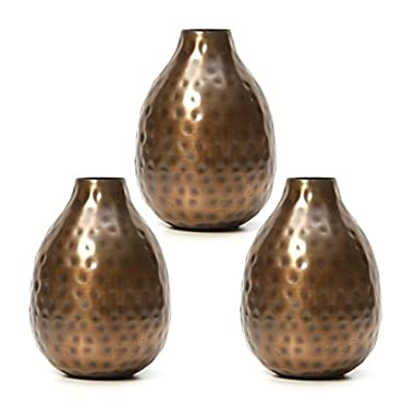 Hosley's Set of 3 Antique Bronze Metal Bud Vases - 4.5  High. Ideal GIFT for Wedding, Bridal, Home, Study, Spa or Aromatherapy O3