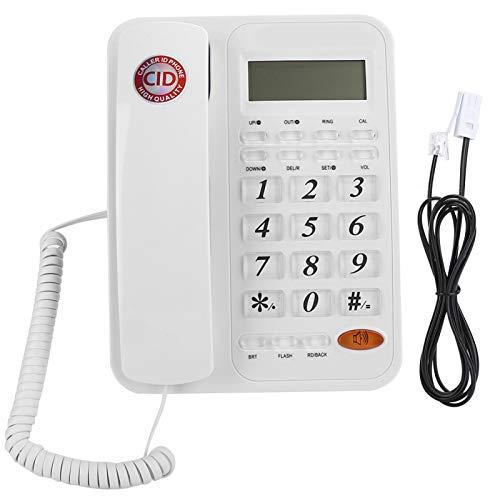 Teléfono Blanco, identificador de Llamadas, teléfono Fijo Fijo con Brillo LCD de 16 Niveles, teléfono Fijo de Pared para Oficina en casa, detección automática de Llamadas entrantes