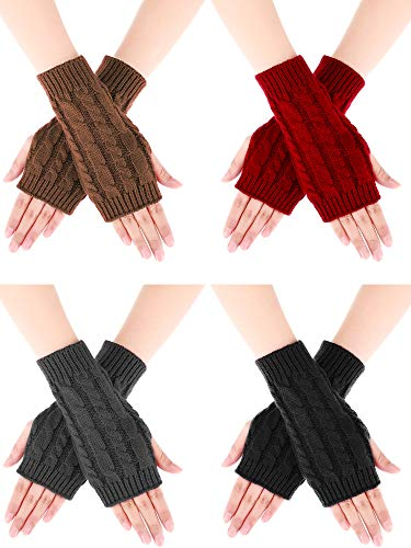 Bememo 4 Pairs Women Long Fingerless Gloves Winter Mitten Arm Gloves with Thumb Hole (Color Set 2, Short Type)