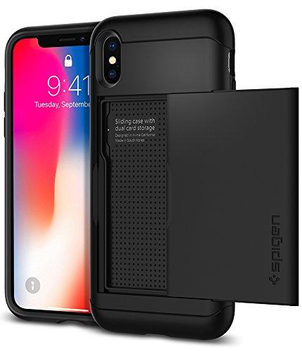 Spigen Funda Slim Armor CS Compatible con Apple iPhone XS/X Almacenar Dos Tarjetas y Dinero - Negro