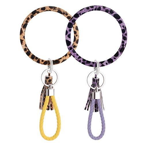 Schlüsselanhänger Armband Armband Armreif Schlüsselanhänger Schlüsselanhänger groß Kreis Schlüsselanhänger Leder Quaste Armband Schlüsselhalter für Frauen Mädchen, Mehrere (leopard), Large