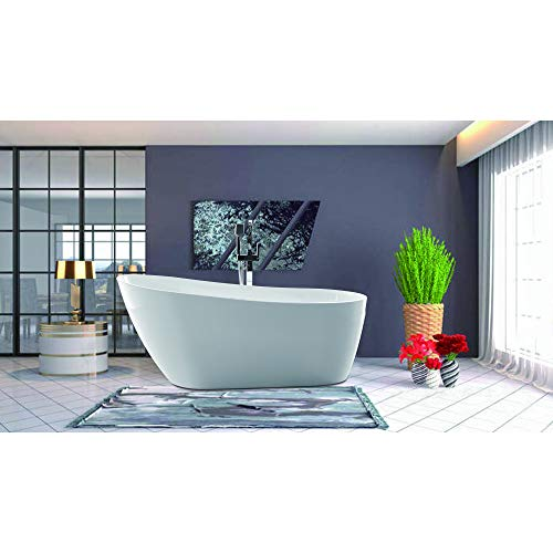 Vanity Art Freestanding White Acrylic Bathtub Modern Stand Alone Soaking Tub with Polished Chrome UPC Certified Slotted Overflow and Pop-up Drain (67
