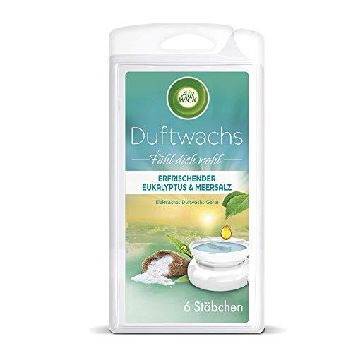 Air Wick Duftwachs – Nachfüller für das Air Wick Duftwachs-Gerät – Duft: Eukalyptus & Meersalz – Bis zu 120 Stunden Dufterlebnis – 1 x 6 Duftwachsstäbchen