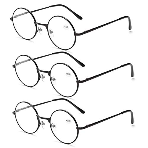 Dann Lesebrille Runde Retro-Brille, 3er Pack Spring Hinges Pattern Stilvolle Leser Für Frauen/Männer