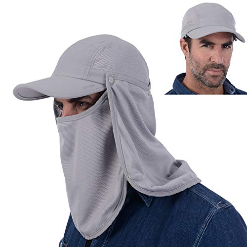 USHAKE Sun Cap Fishing Hat Quick Dry Baseball Cap with Face Neck Cover Flap Light Grey