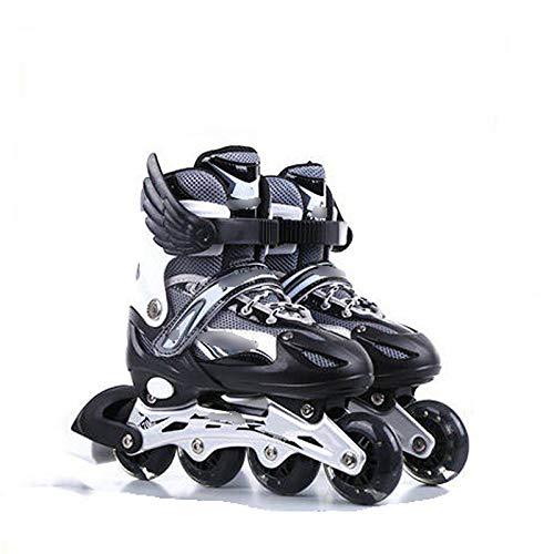 Einstellbare Inline Skates Full Flash Kinder Roller Blades Kinder Erwachsene Männer und Frauen Inline Rollschuhe Jungen und Mädchen Schwarz_L (38-42)