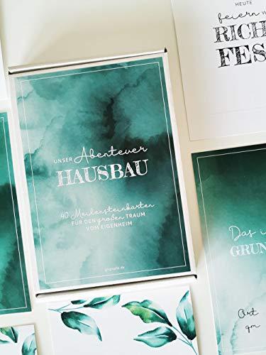 glupspilz | 40 Meilensteinkarten Hausbau | Unser Abenteuer Hausbau | Geschenk für Bauherr und Bauherrin
