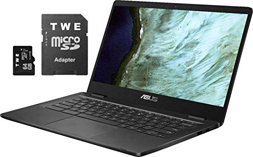 ASUS Chromebook 35,6 cm (14 Zoll) HD-Bildschirm mit LED-Beleuchtung, Intel Celeron N3350, 4 GB DDR4, 32 GB eMMC SSD, WLAN, Bluetooth, Webcam, Online-Class Ready, Chrome OS, TWE 64 GB MicroSD-Karte