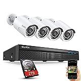 SANNCE 5MP POE Système kit de Surveillance 8CH NVR H.264+ avec HDD 2TB et 4 IP caméra de vidéosurveillance IP66 Imperméable Extérieure/Intérieure et Alerte par E-Mail