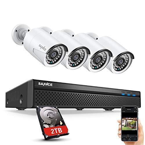 SANNCE 5MP POE DC 48V Kit di Sicurezza NVR 8CH con 2TB Disco Rigido Installato+ 4 Telecamere di Sorveglianza con Sistema di Videosorveglianza LED a Infrarossi Intelligente - 2TB HDD