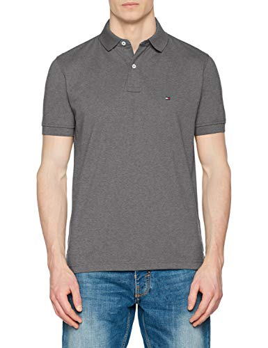 Tommy Hilfiger Tommy Regular Polo, Plateado (Silver Fog Htr 043), Small para Hombre