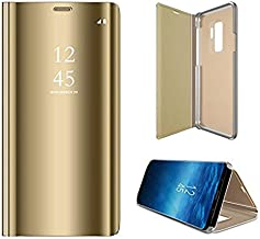 Samsung Galaxy S9 Plus Mirror Flip Case Clear View standing PU Shockproof Back Cover for S9+ Gold