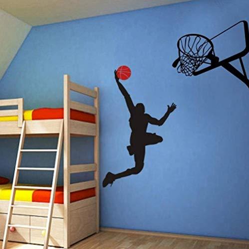 Cool Basketball Player Dunk Ball Michael Jordan – Vinilo adhesivo decorativo para habitación de los niños, decoración principal adaptable