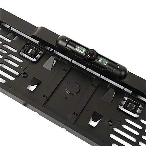 AntDau71 - Porta Targa per Auto con Telecamera Tonda Posteriore HD LED per Ottima Visione Notturna e sensori di parcheggio retromarcia per parcheggio per Veicoli Europei cw293