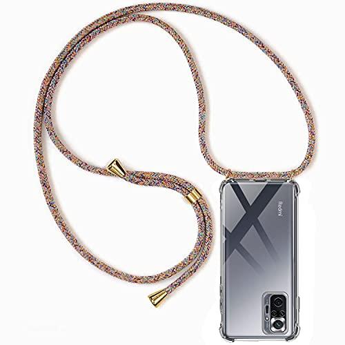 CHIMUCO Handykette Hülle kompatibel mit Xiaomi Redmi Note 10 Pro 4G (6.67''), Handyhülle Handy Necklace Hülle mit Band Schutzhülle Kordel zum Umhängen Transparent Weich TPU Silikon Tasche, Rainbow