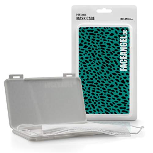 FACEANGEL Masken-Box für bis zu 5 Mund- und Nasenmasken – Leopard Grün I Masken-Etui für die hygienische Masken-Aufbewahrung I Ideal für Schulranzen, Handtasche, Rucksack & Auto