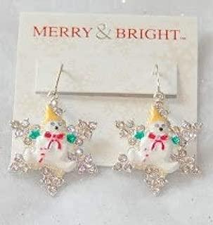 MERRY BRIGHT Mr. Bingle Crystal & Enamel Snowflake Drop Earrings (New Orleans Snowman Icon)