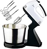 [2 Different Attachments] :Featured with 2 different attachments( dough hooks and beaters ), It is perfectly designed for you to do all types of food mixing, including creaming, mixing, beating, kneadin, mix eggs or cream, provide you with a comforta...