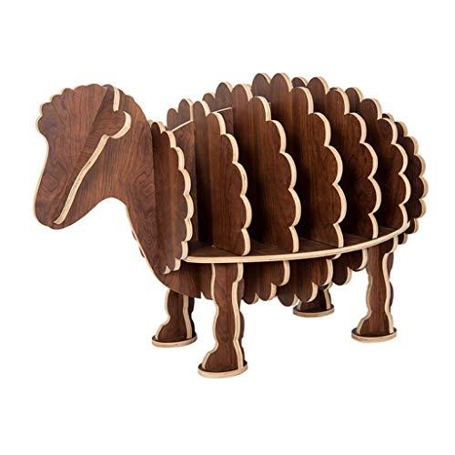 Kiter Librero Estantería para Libros Moda estantería Fácil Instalación Libros Estante de Almacenamiento Niños librero Creativo ovejas Muebles for la decoración Creativo (Color : Brown)