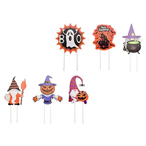 Artibetter 6 Piezas de Carteles de Patio de Halloween Decoraciones de Césped Aire Libre Ghost Witch Ghost Scarecrow Garden Stake Trick Or Treat Yard Signs con Estacas Halloween Prop