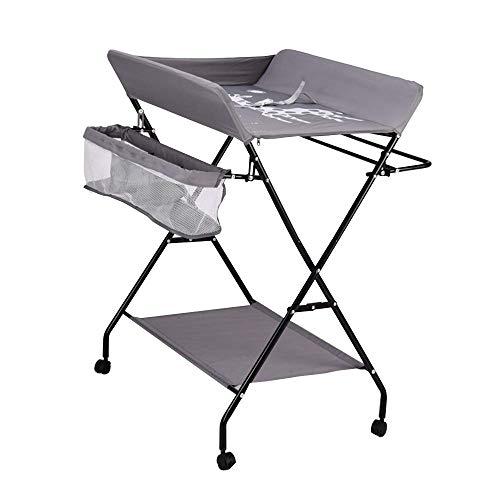 Cambiador plegable para bebé, con cinturón de seguridad y compartimentos de almacenamiento, combinación de cambiador (con ruedas)
