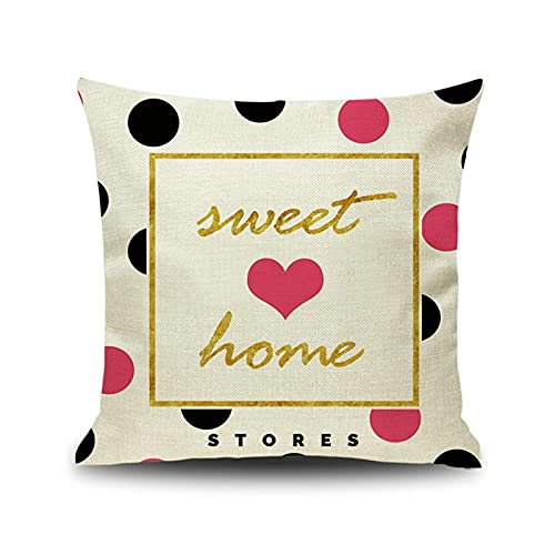 KnBoB Funda Almohada Cuadrado Corazón Sweet Home 50x50 cm Beige Rosado Tejido con Lino Decora Sofa Silla Cama - Estilo 7