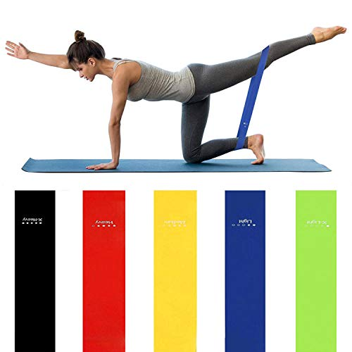 JACKBAGGIO 5pcs Exercise Bands Resistance Band - Workout Band Stretch Band with Breathable Bag for Legs Butt Glutes Yoga Fitness Physical Therapy Home Equipment Training for Women Men (EB03)