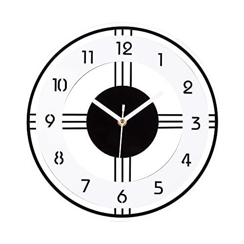 Reloj de Pared Moderno 30cm de Cuarzo Redondo Silencioso No-Ticking Grandes Decorativos Interior Reloj Funciona con Pilas para Sala de Estar,Dormitorio,Aula,Cocina