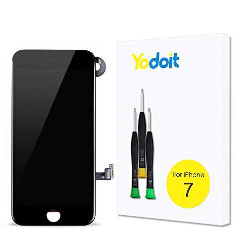 Yodoit Ersatz für LCD Touchscreen Digitizer Display für iPhone 7 Vormontiert mit Hörmuschel, Frontkamera& Näherungssensor Reparaturset KomplettErsatzbildschirm mit Werkzeuge (Schwarz)