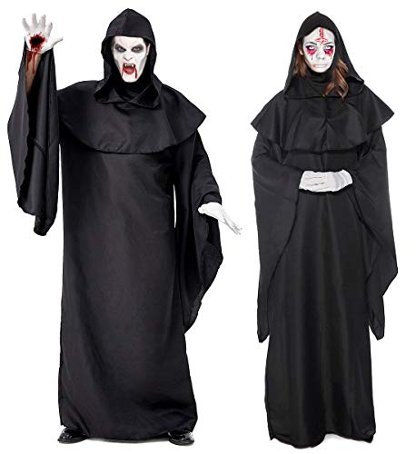 Halloween Black Medieval Monk Robe Priest Costume Death Devil Cosplay Wicca Hoody Cloak Long Tippet Cape