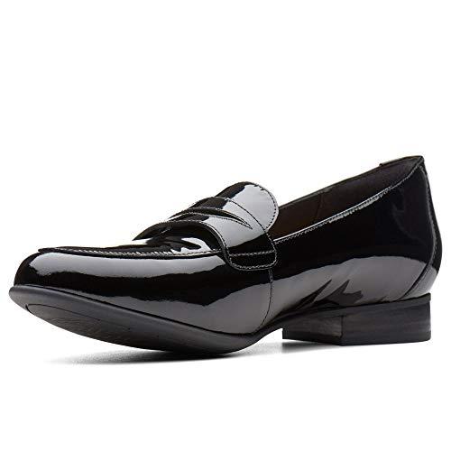 Clarks Un Blush Go Womens Wide Fit Casual Penny Loafers 7 D (m) UK/41 EU Schwarz Lack