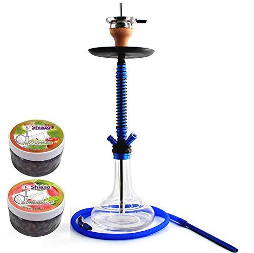 Kertou Shisha Hookah Cachimba Narguile Aluminio agua tubo vidrio fumar 66 cm con 2x100gr piedras, pinzas para carbón (azul)
