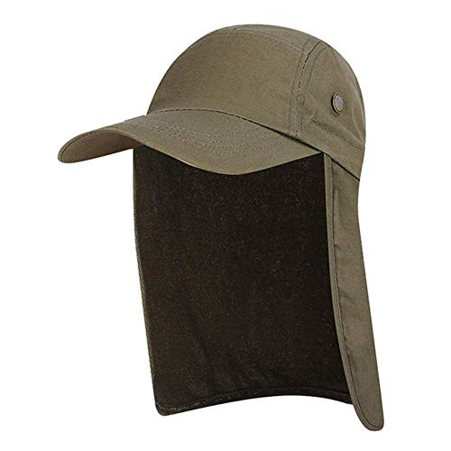 vap26 Gorra de Pesca Unisex Sol Protector Solar Protección UV Gorras Caza Borde Ancho Secado Rápido Plegable Visor Acampar Aire Libre Verano Senderismo Oreja Cuello Pro Flap (Caqui)