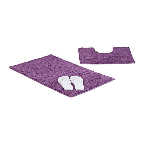 Relaxdays Badgarnitur 2-teilig, Streifen-Design, Für Fußbodenheizung, Waschbar, Badematte und WC-Vorleger, Für Stand-WC, 80 x 50 cm, lila/Beere