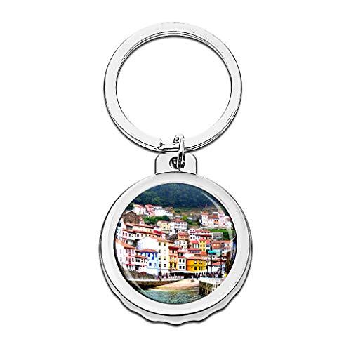 Hqiyaols Keychain España Cudillero Asturias España Gorra Abrebotellas Llavero Creativo Cristal Acero Inoxidable Llaveros Viajes Recuerdo