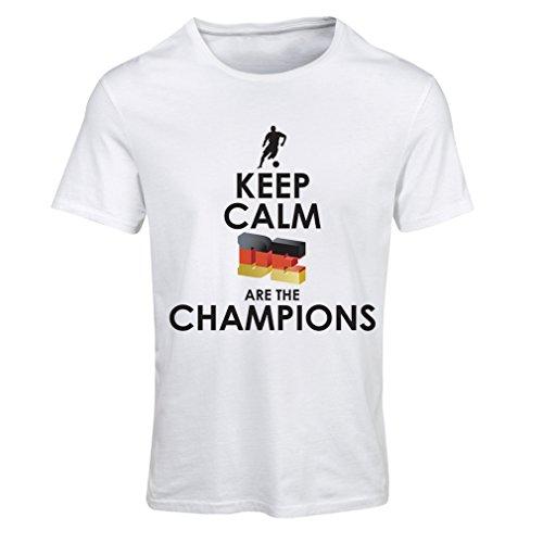 Frauen T-Shirt Deutsche sind die Champions - Russland-Meisterschaft 2018, WM-Fußball, Team von Deutschland Fan-Shirt (Small Weiß Mehrfarben)