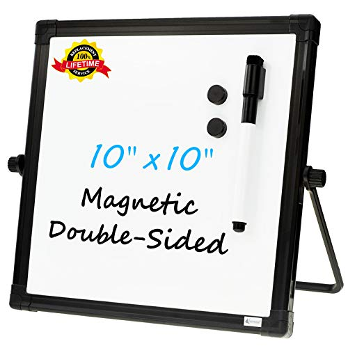 "Small Desktop Dry Erase Board Whiteboard - White Board & Black Board, 10""X10"" Portable Magnetic Easel Tabletop Dry-Erase Board for Kids Home,School,Office"