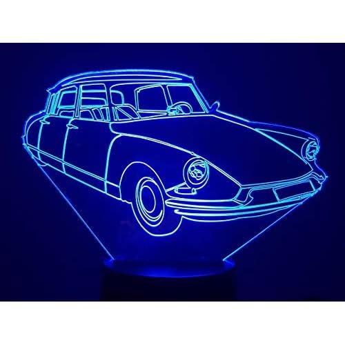 CITROËN DS 19, Lampada illusione 3D con LED - 7 colori.