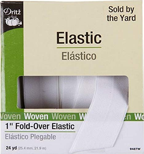 Dritz 9487W Fold-Over Woven Elastic, 1-Inch by 24-Yard, White