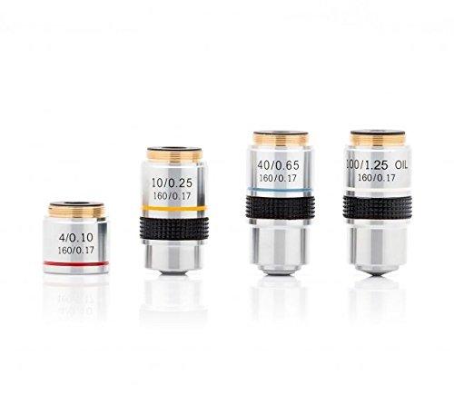 LW Scientific Revelation 3 Microscope DIN Achromatic Objectives Set - 4X,10x, 40x, R3O-SET7-DA77