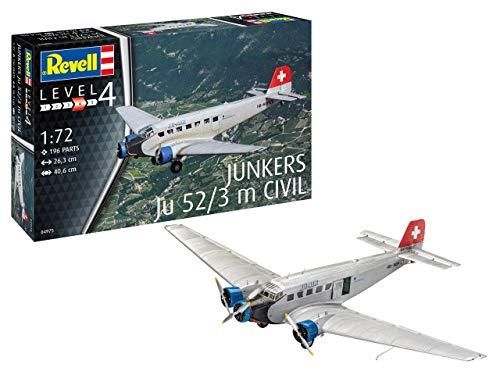 Revell REV-04975 Junkers Ju52/3m Civil, Flugzeugmodellbausatz 1:72, 26,3 cm Modelmaking, unlackiert