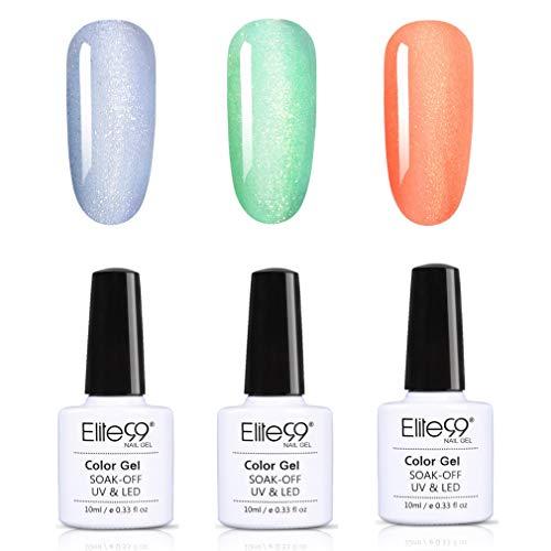 Elite99 Highlighter Glitzer UV Nagellack Set, Glitzer Design Gellack UV Gel Farbgel Nagelgel, High...