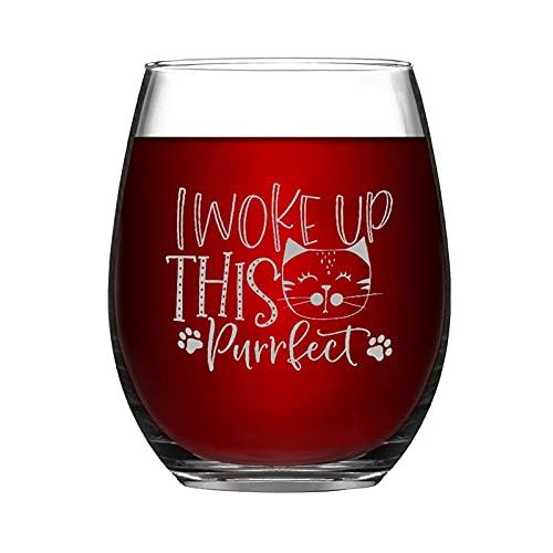 Lustiges Weinglas I Woke Up This Purrfect Stielloses Weinglas für Haustierliebhaber, Gedenktafel für Whiskey, Rotwein, Sodamilch, Geschenk für Mutter, Vater, Freund oder Haustierliebhaber